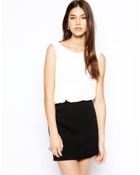 TFNC London - Black Bodycon Dress With Blouson Top And Lace Back Detail - Lyst