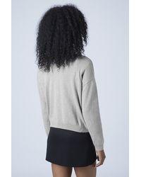 TOPSHOP Gray Tall Embellished Neck Jumper