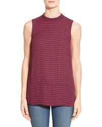 Halogen | Red Print Sleeveless Mock Neck Top | Lyst