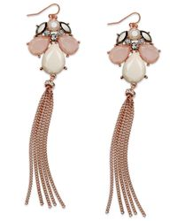 INC International Concepts | Rose Gold-Tone Pink Stone Tassel Earrings | Lyst