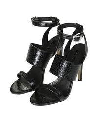 TOPSHOP - Black Rita Croc Effect Sandals - Lyst