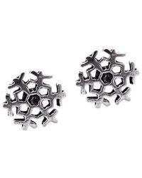 Aeravida | Metallic Petite Holiday Snowflake .925 Silver Stud Earrings | Lyst