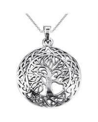 Aeravida - Metallic Mystic Celtic Frame Tree Of Life Sterling Silver Pendant - Lyst