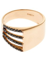 Kismet by Milka - Metallic Gold Black Diamond Beat Pinky Ring - Lyst