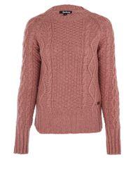Barbour Light Pink Cable Knit Jumper