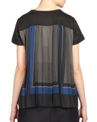 Sacai | Black Georgette-back T-shirt | Lyst