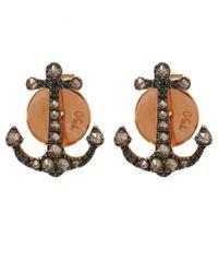 Annoushka Metallic Rose Gold Love Diamonds Anchor Stud Earrings