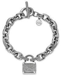 Michael Kors   Metallic Pave Padlock Bracelet   Lyst