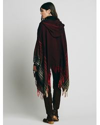 Free People - Red Linear Hooded Kimono - Lyst