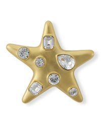 Kenneth Jay Lane - Metallic Satin Gold Crystal Star Brooch - Lyst