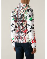 Roberto Cavalli Multicolor Floral Feather Down Jacket
