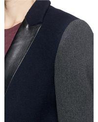 Sandro Blue 'magnolia' Leather Lapel Contrast Sleeve Coat