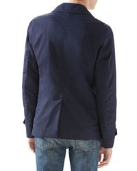 Gucci Blue Washed Gabardine Peacoat for men