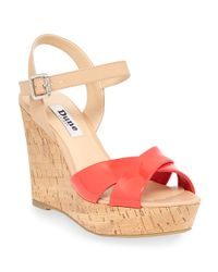 Dune | Pink Kingdom Patent Leather Wedge Sandals | Lyst