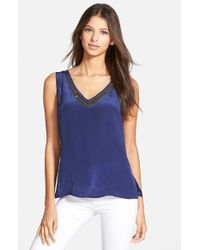 Plenty by Tracy Reese - Blue Embellished V-Neck Tank - Lyst