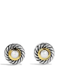 David Yurman - Metallic Cable Pearl Earrings With Gold - Lyst