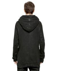 Julius Black Hooded Waxed Cotton Sweatshirt for men