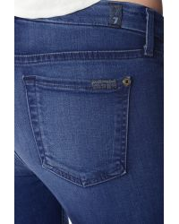 7 For All Mankind Blue Slim Illusion Luxe Mid Rise Skinny In Medium Heritage