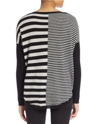 Lord & Taylor Black East-west Striped Cashmere Sweater