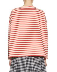 Orcival - Red Breton-stripe Oversized Cotton Top - Lyst