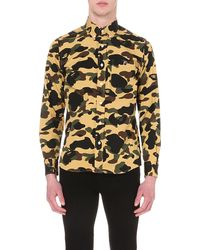 A Bathing Ape Yellow Regular-fit Camouflage-print Cotton Shirt for men