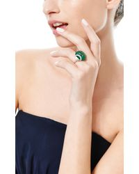 Fd Gallery Green Vintage Art Deco Carved Emerald and Diamond Ring