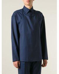 J.W.Anderson - Blue Layered Bib Pinstripe Shirt for Men - Lyst