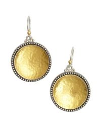 Gurhan | Metallic Silver And Gold Hammered 'Calix' Drop Earrings | Lyst