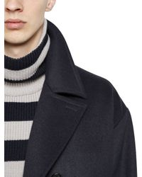Antonio Marras Blue Double Breasted Wool Peacoat for men