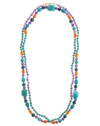 Pink Powder - Blue Turquoise & Purple Agate Beaded Necklace - Lyst