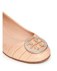 Tory Burch | Black Reva Croc-effect Leather Ballet Flats | Lyst