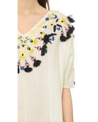 Antik Batik Natural Dove Caftan Blouse - Cream