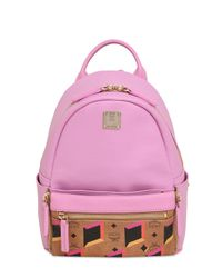 MCM Pink Mini Dual Star Faux Leather Backpack
