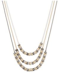 Nine West | Metallic Three Row Beaded Layer Necklace | Lyst