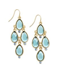 Carolee - Blue Goldtone Crystal Teardrop Chandelier Earrings - Lyst