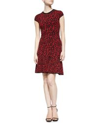 Michael Kors Black Spotted Stretch-knit Flounce Dress
