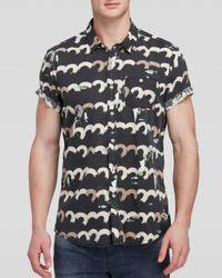 Scotch & Soda Green Pelican Print Short Sleeve Button Down Shirt - Regular Fit for men