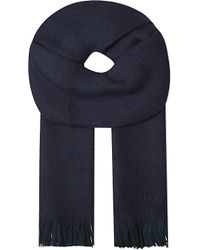 Paul Smith | Blue Striped-trim Wool Scarf for Men | Lyst