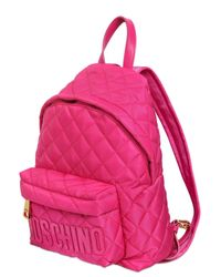 Moschino Pink Small Quilted Nylon Backpack With Logo
