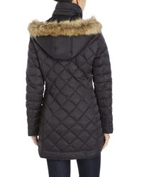 Kenneth Cole | Black Faux Fur Trim Down Coat | Lyst