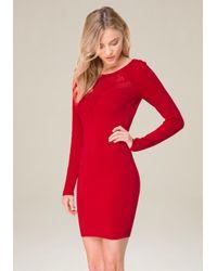 Bebe - Red Crochet Inset Dress - Lyst