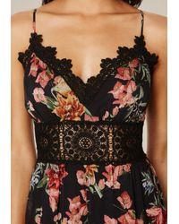 Bebe Black Print Lace Trim Jumpsuit