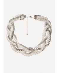 Bebe - Metallic Faux Pearl Twisted Necklace - Lyst