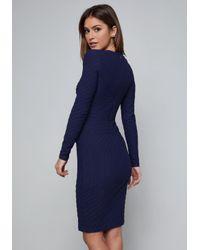 Bebe - Blue Textured Midi Dress - Lyst