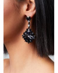Bebe - Black Stone Drop Earrings - Lyst
