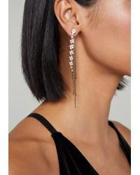 Bebe - Metallic Chain Thread Long Earrings - Lyst