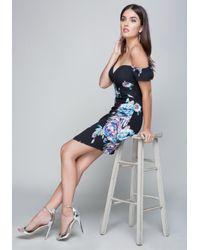 Bebe Blue Print Off Shoulder Dress
