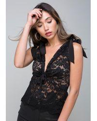 Bebe - Black Lace Double V-neck Top - Lyst