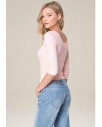 Bebe - Pink 3/4 Sleeve Top - Lyst