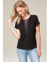 Bebe | Black Marian Lace Up Top | Lyst